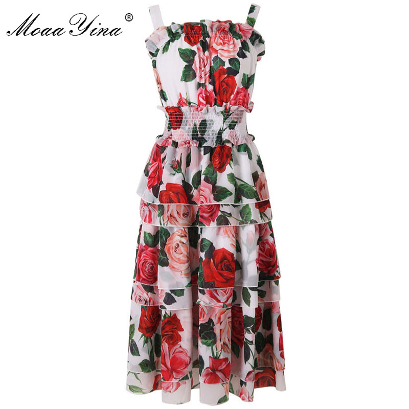 MoaaYina Fashion Designer Runway Dress Summer Women Spaghetti Strap Rose Floral Print Elastic Waist Cascading Ruffle Beach Dress
