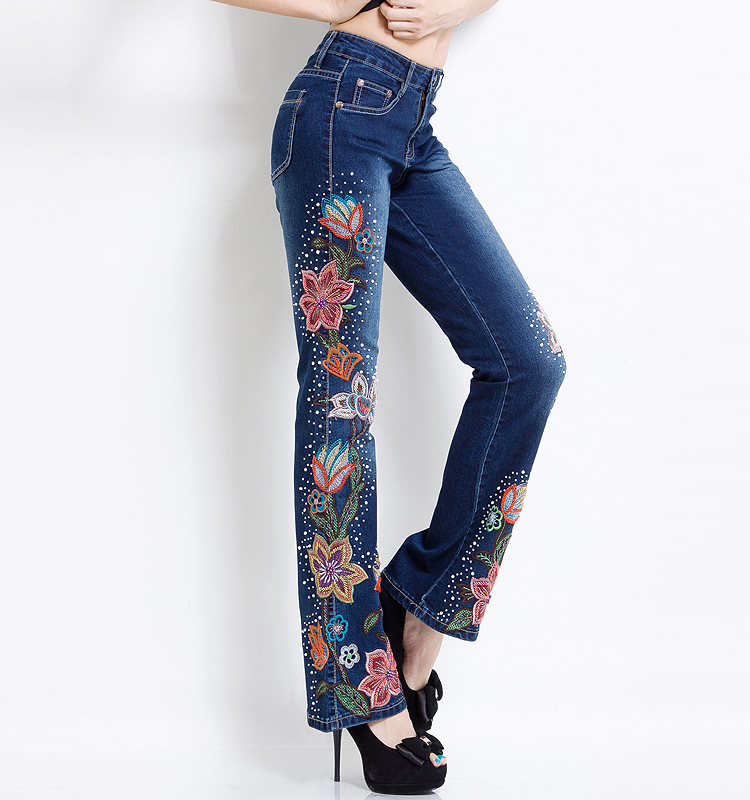 Women Embroidered Beaded Jeans Rhinestone Bell Bottom Flared Pants Elasticity Luxury Sexy Ladies High Waist Push Up Female Jeans 16