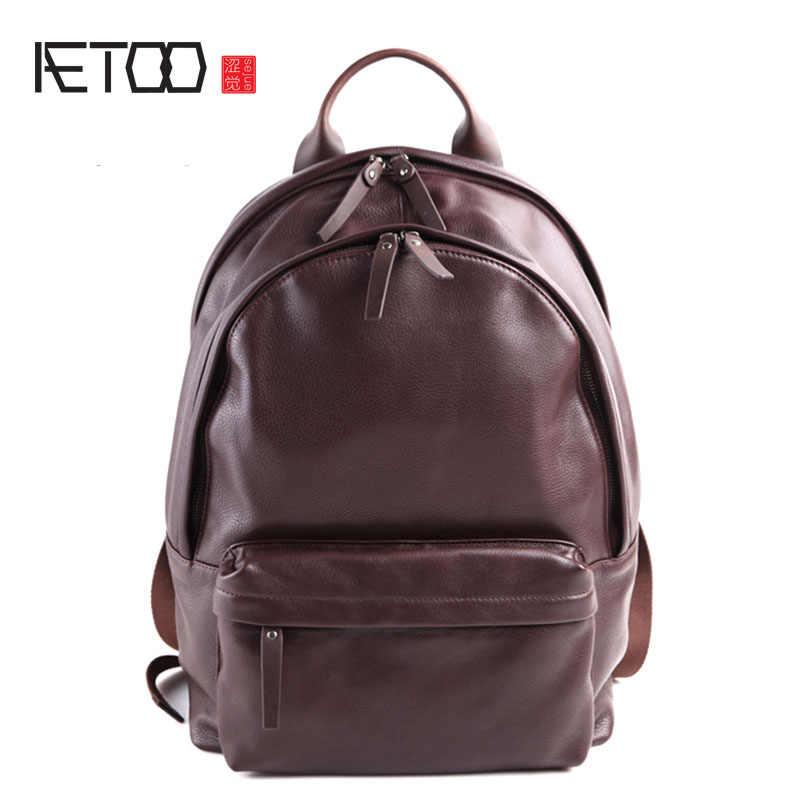 AETOO чистая кожа Европы, Япония и Южная Корея модные ретро повседневные Рюкзак кожаный прилив рюкзак в духе колледжа