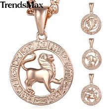 Trendsmax regalo de cumpleaños 12 signo del zodiaco constelaciones colgante collar para mujeres hombres color de rosa cadena de oro 50.5cm KGPM16