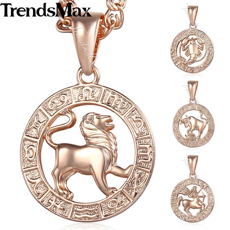 Trendsmax Birthday Gift 12 Zodiac Sign Constellations Pendant Necklace For Women Men Rose Gold Color Chain 50.5cm KGPM16