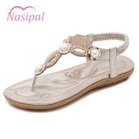 Nasipal Summer Beach Shoes Ethnic Style Gadiator Women Shoes Flip Flops Casual Beading T Strap Flat