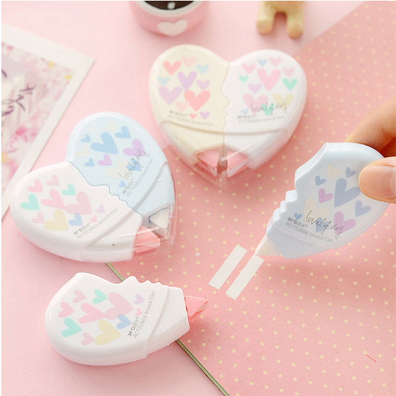 2 Pcs/pair Love Heart Correction Tape Material Escolar Kawaii Stationery Students Gifts Office School Supplies Papelaria 10M