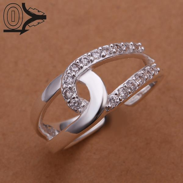 Free Shipping Wholesale Silver-plated Ring,Silver Fashion Jewelry,Women&Men Gift Inlaid Stone Cross Silver Finger Rings
