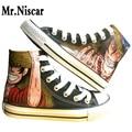 Negro Luffy y Ace High-Top Cordones Zapatos de Lona Respirables Femeninos Masculinos Zapato Plano Del Anime de Una Pieza Pintada A Mano Zapatos Pintados