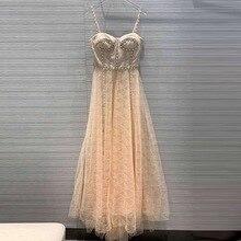 Вечернее платье KENVY, Брендовое, модное, женское, высокого класса, роскошное, элегантное, тонкое, летнее, бриллиантовое, сексуальное, Сетчатое, на бретелях, макси платье