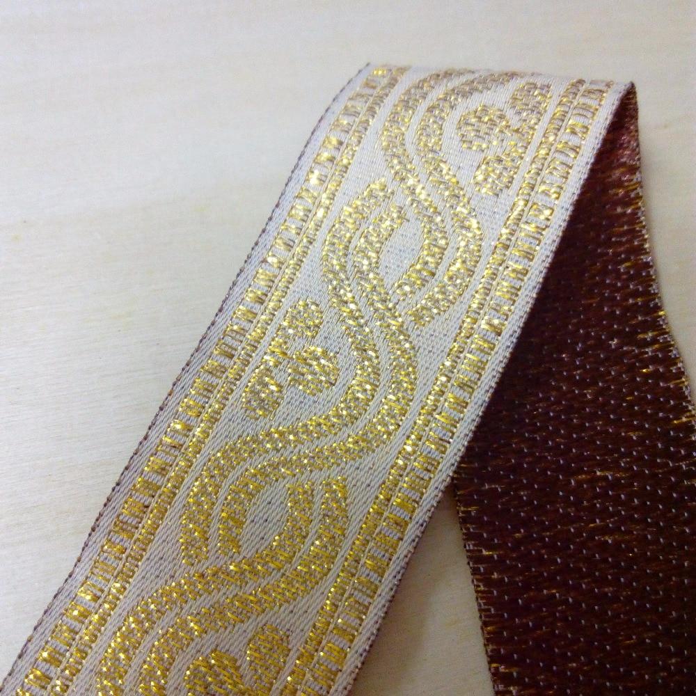 3cm 30mm 1-1/4'' Beige Braided Gold Filigree Trim Classic Folk Ribbon Bedding Costume Laciness National Jacquard Webbing Lace