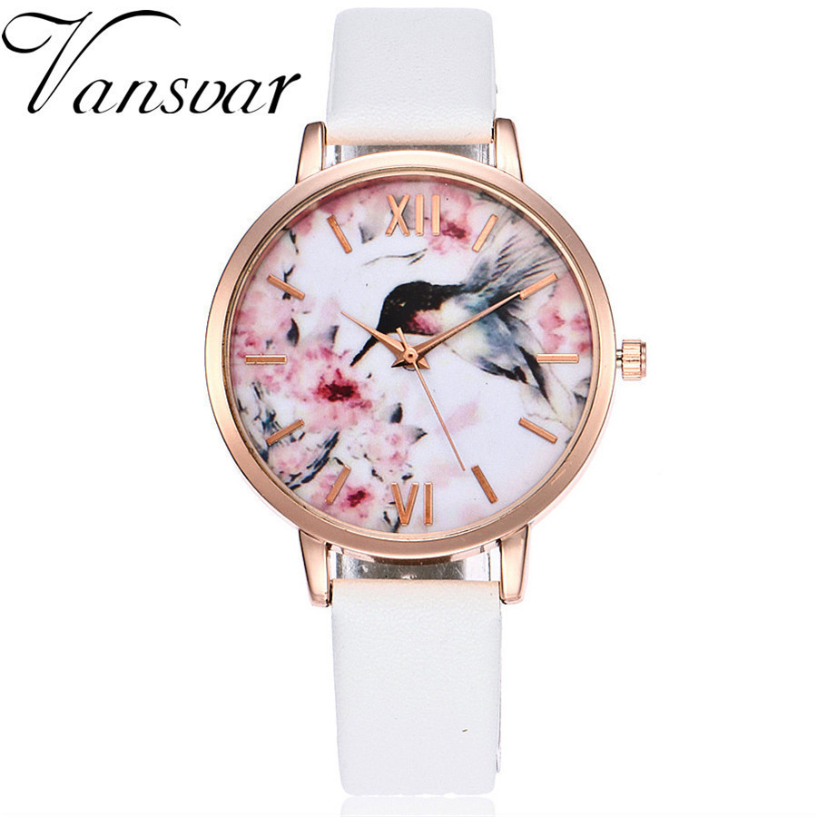 Vansvar Brand Women Flower Bird Watch Rose Gold Leather Creative Wristwatches Casual Women Dress Ladies Quartz Clock Vansvar Brand Women Flower Bird Watch Rose Gold Leather Creative Wristwatches Casual Women Dress Ladies Quartz Clock