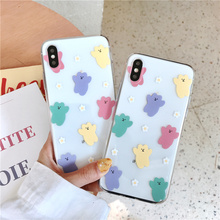 Transparent cute case for iphone 6 6s stylish ultra thin iphon 7 8 plus clear puppy bear soft on x xs max xr phone