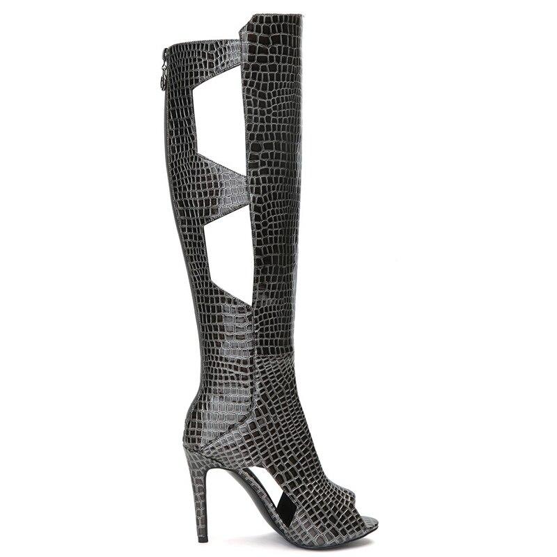 Peep Rodilla Altas Moda La Sexy Recortes Zapatos Toe Botas Hasta Primavera Kcenid Las De Pu Más 2019 Mujer Mujeres Larga Serpiente Negro Tacón Alto RwB1Zq7