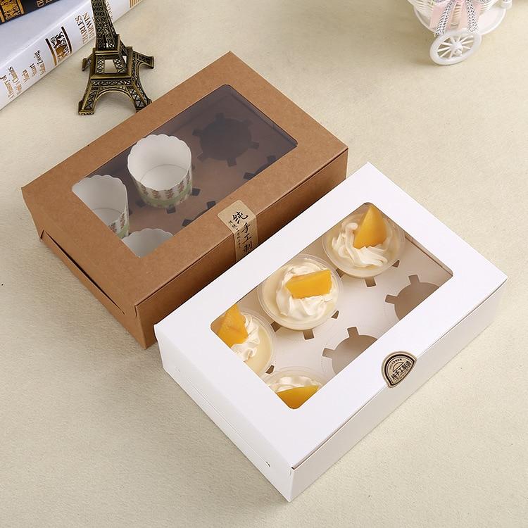 100 X 6 Cavity Elegant White Brown Cupcake Box With