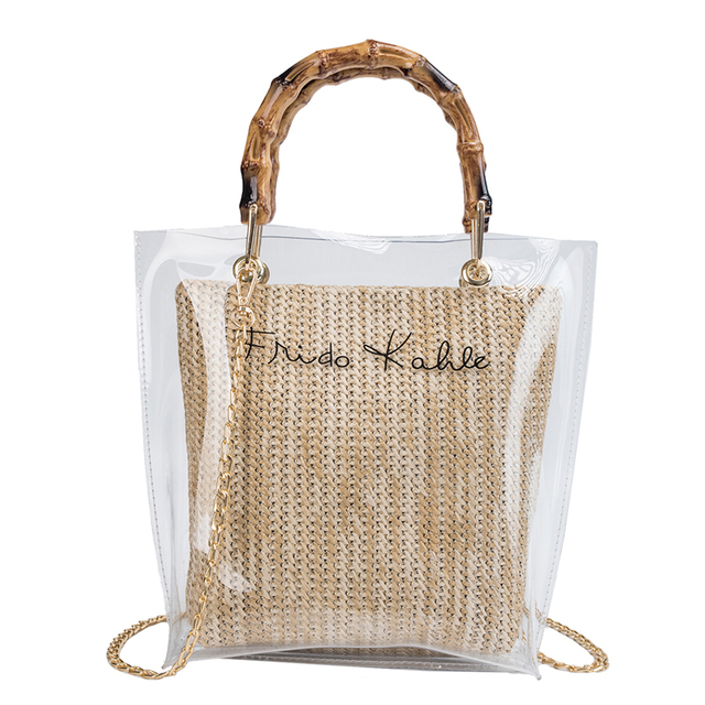 Bamboo Handle Clear Shoulder Bags