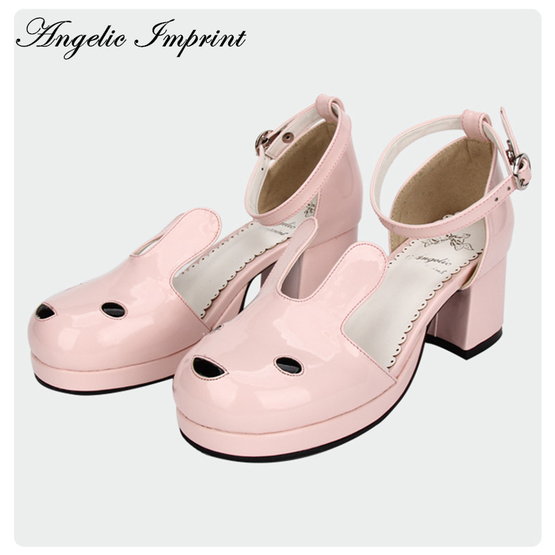 New Arrivals Pale Pink Shiny Leather Kawaii Rabbit Ankle Strap Sweet Lolita Shoes 5.5CM Heel Pumps 8623 new arrivals pale pink shiny leather kawaii rabbit ankle strap sweet lolita shoes 5 5cm heel pumps