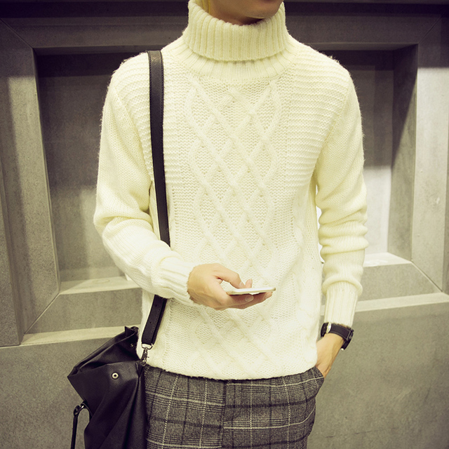 Korean Designs White Mens Sweaters Turtleneck Diamond Knitted Pullover Men Autumn Winter Boys Soft Breathable Male Sweater