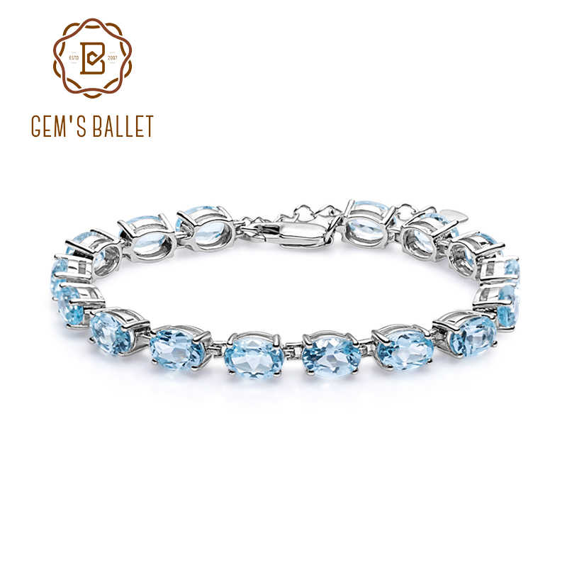 GEM'S BALLET 25.26Ct Oval Natural Sky Blue Topaz Tennis Bracelet 925 Sterling Silver Gemstone Bracelet Fine Jewelry For Women