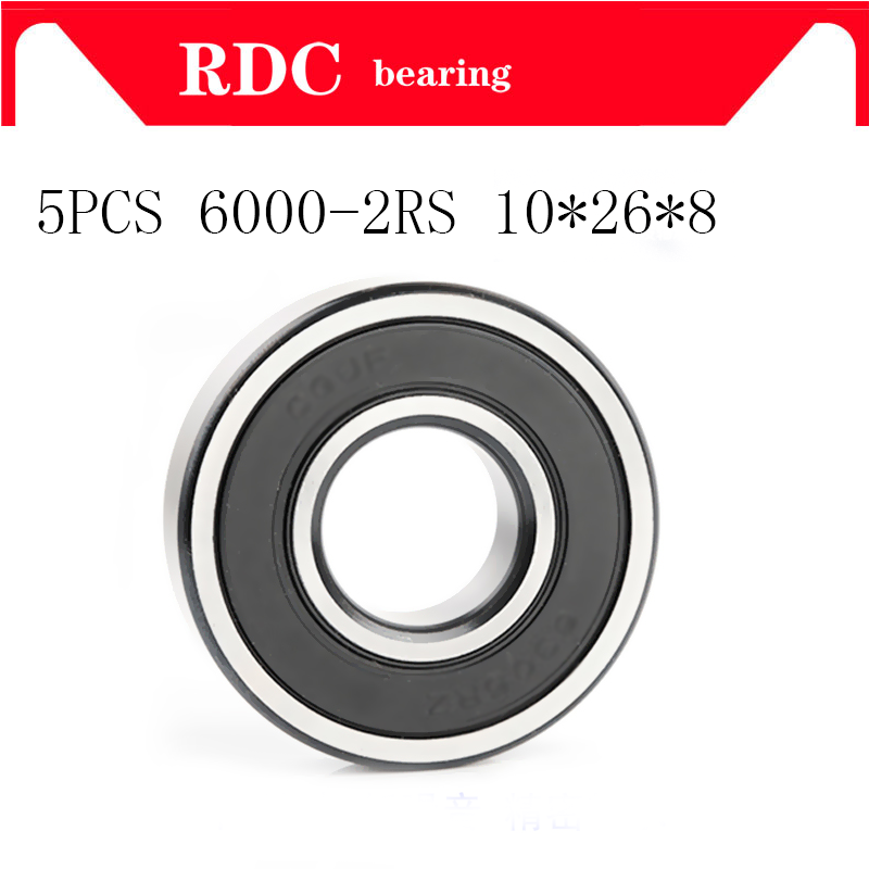 5PCS ABEC-5 6000 2RS 6000RS 6000-2RS 6000 RS 6000-2RSH 10x26x8 10*26*8 Mm Rubber Seal High Quality Deep Groove Ball Bearings