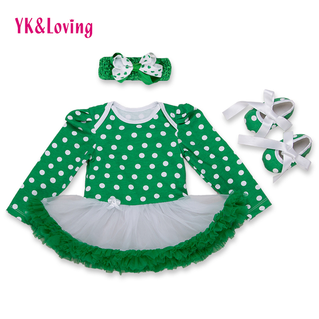 Baby Clothing Sets 3Pcs St Patricks Day Long Sleeve Romper Tutu Dress + Headband + Shoes Autumn Girls Kids Clothes Free Shipping