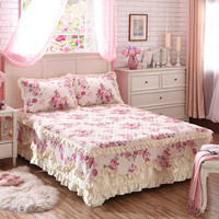 New Korean bed skirt set thicken bed cover sheets bed 100%cotton quilted lace bedspread pastoral flower lace bed sheet 3pcs king