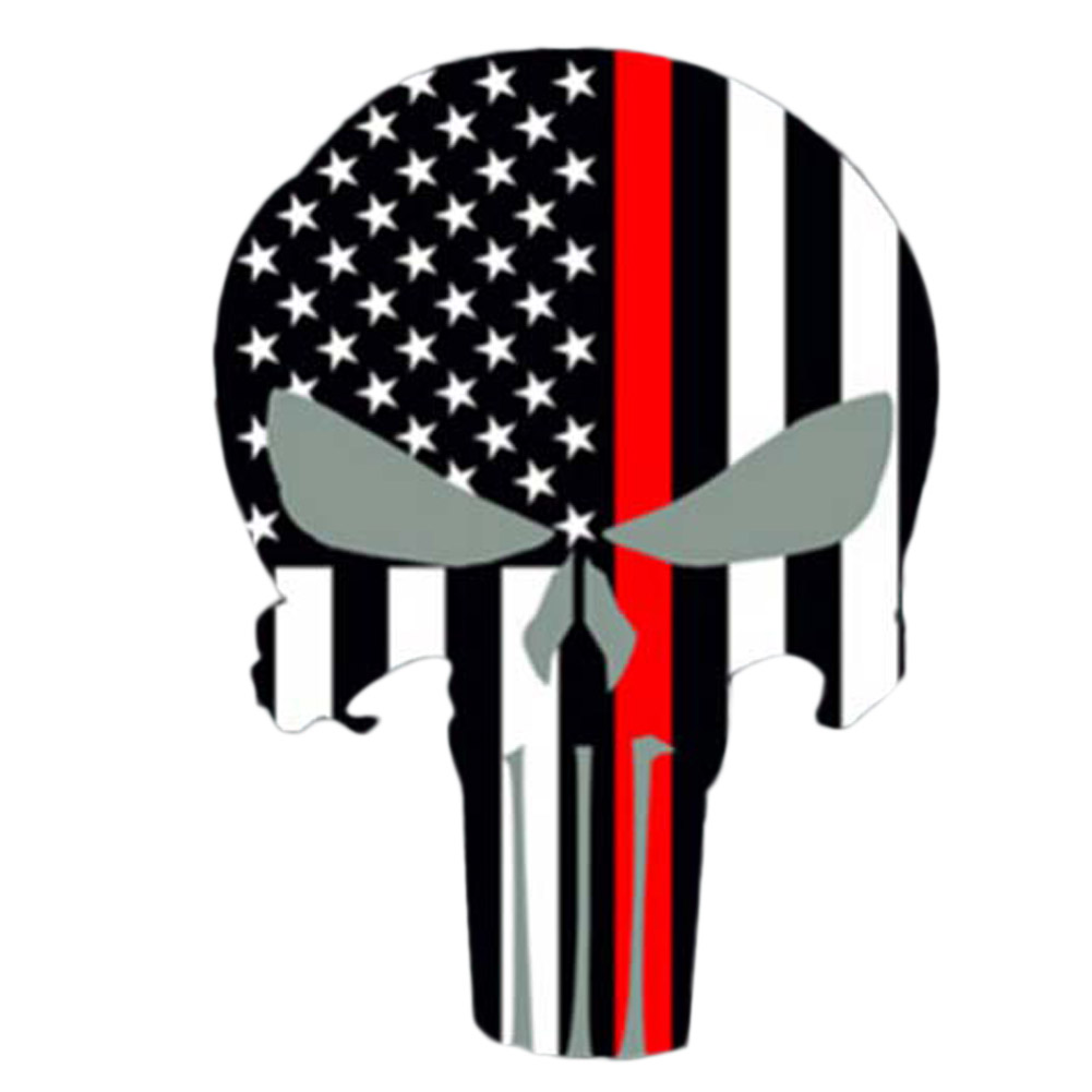 Red striped punisher personality punisher skull flag car stickers covering the body of fashion vinyl decals styling in car stickers from automobiles