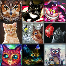 5D DIY full Diamond Painting Painted Cartoon Animals Cats Mosaic Embroidery Animal Cross stitch Embroidery Crafts Decoration