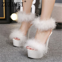 2019 women shoes 15.5cm thin heels feather sandals high heels women shoes plus size color sexy pumps hairs size 34 39