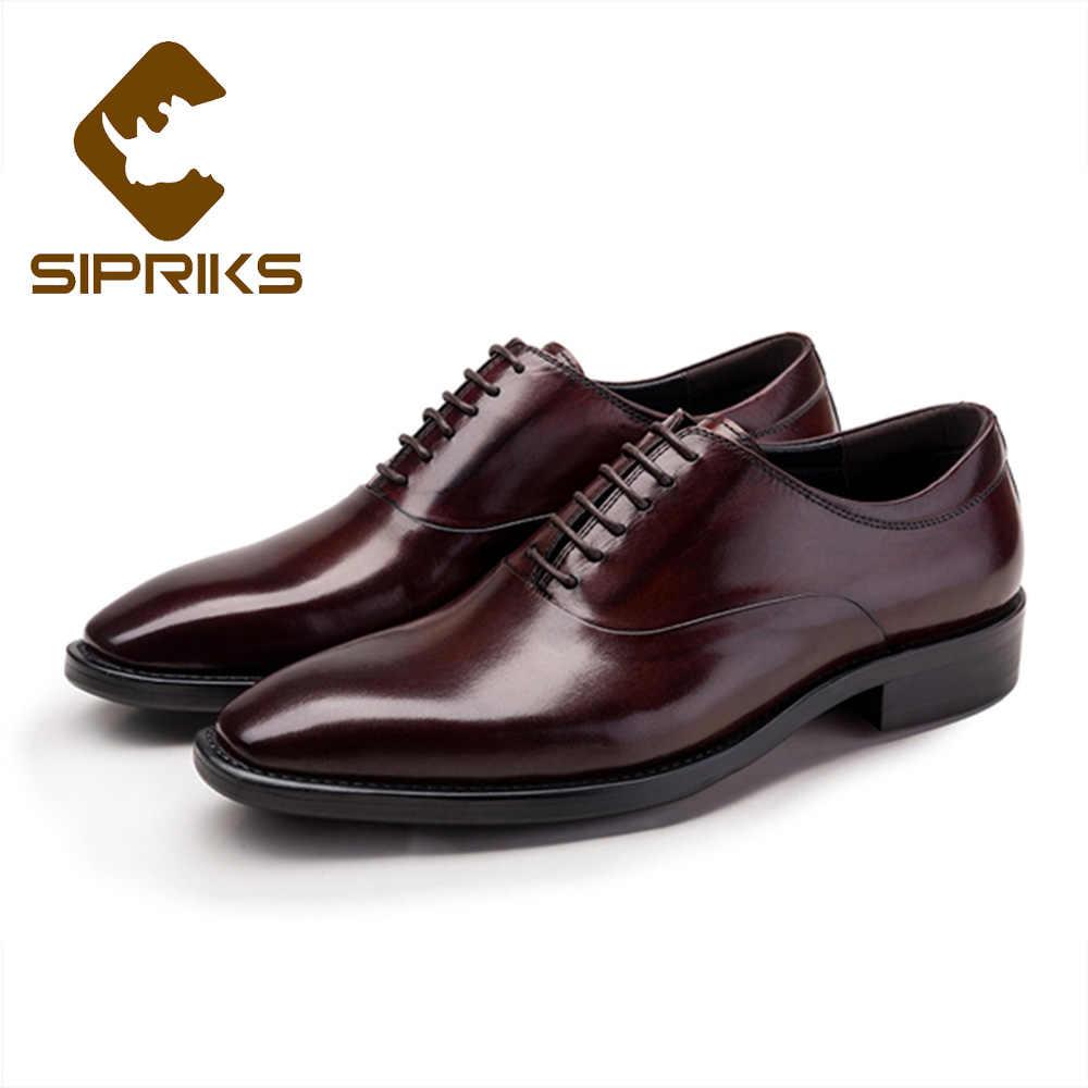 Sipriks мужские оксфорды из натуральной кожи классические коричневые  кожаные туфли для мужчин элегантные черные мужские костюмы fc5cec35a6e