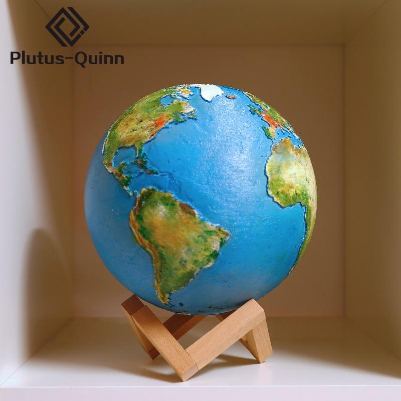 Livraison directe Rechargeable 3D lampe de terre d'impression colorée Led veilleuse décor à la maison cadeau créatif changement tactile interrupteur Usb lune lampe