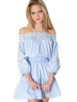 Off Shoulder Floral Lace Hollow Out Girl Blue Summer Dress High Quality Sweet Women Sundress Summer