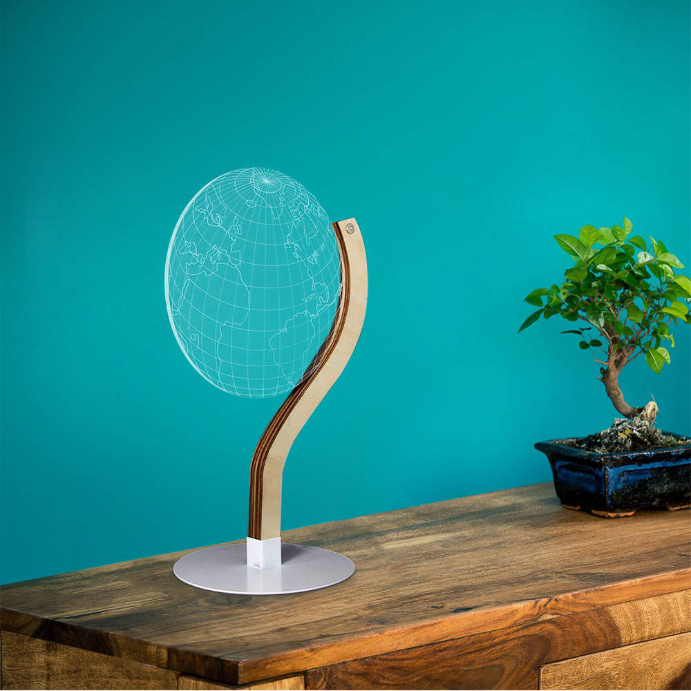 Earth Model Shape 3D Effect LED Acrylic Stereoscopic Night Light Novelty Optical Illusion Table Lamp Home Furnishing Lighting