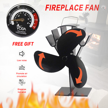 3-Blade Black Thermal Power Furnace Fan Evenly Distributed Heat Wood / Log Burner / Fireplace Harmless Fireplace Fan