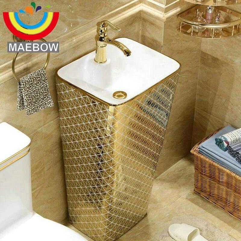 mosaic gold diamonds rectangular pedestal sink ceramic bathroom sink with stand pedestal wash basin