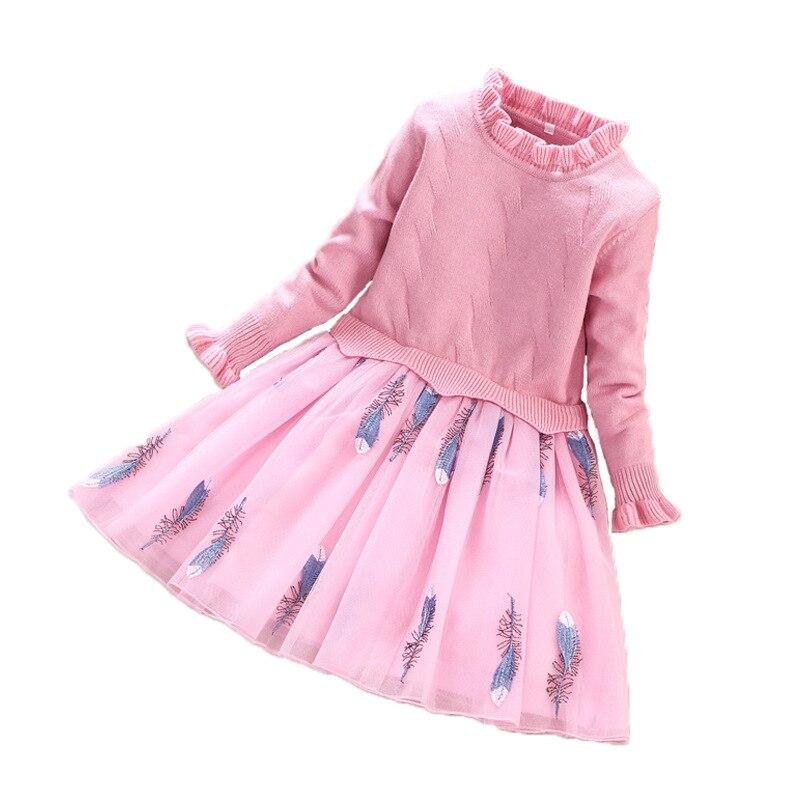 2018 automne nouvelles filles pull robe de haute qualité à manches longues Swearter princesse robe enfants robes pour les filles 3-10 ans vestido