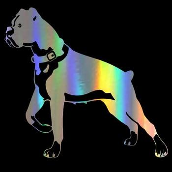 Boxer perro personalidad divertido Animal clásico coche pegatinas decoración del cuerpo etiqueta negro/plata/láser 15,2*14 CM