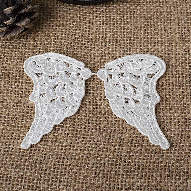 10Pairs Angel Wings Lace Appliques Vintage Off White Venice Small Lovely Lace Patch Embroidery DIY Clothing
