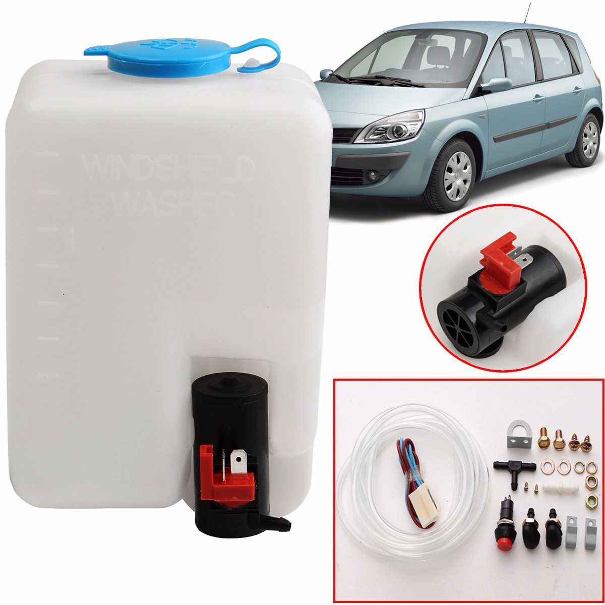 12v Universal Car Windscreen Washer Bottle Kit With Pump Jet Button Hyundai Getz Wiring Diagram 18l Windshield Reservoir Switch For Classic Cars