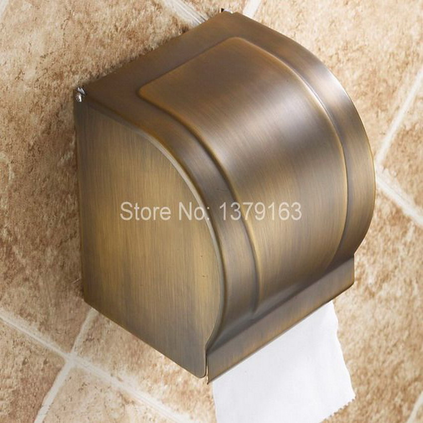 Wall Mounted Antique Brass Bathroom Toilet Paper Holder Roll Tissue Holder / Bathroom Accessory aba303 free shipping antique brass creative wall mounted flower carved bathroom brass toilet paper holder tissue roll with soap dishes