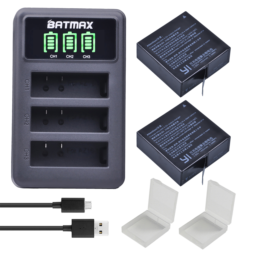 2 Stücke 1400 mAh 3,85 V Batterie AZ16-1 + LED USB 3 slots Ladegerät für Xiaomi Yi 2 4 Karat Batterie Original Xiao Mi Yi Lite Action kameras