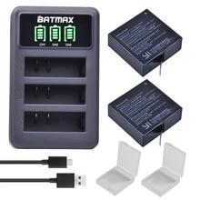 2Pcs 1400mAh 3.85V Battery AZ16-1 + LED USB 3slots Charger for Xiaomi Yi 2 4K Battery Original Xiao Mi Yi Lite Action Cameras все цены
