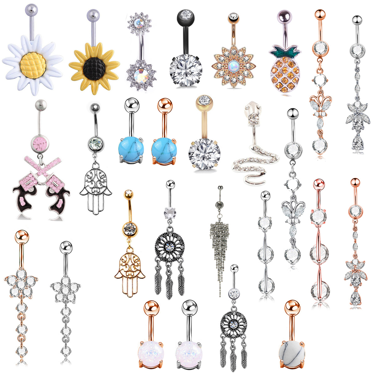 Piercing Rings Bars Navel Flower Body-Jewelry Crystal Belly Fashion 1pc CZ