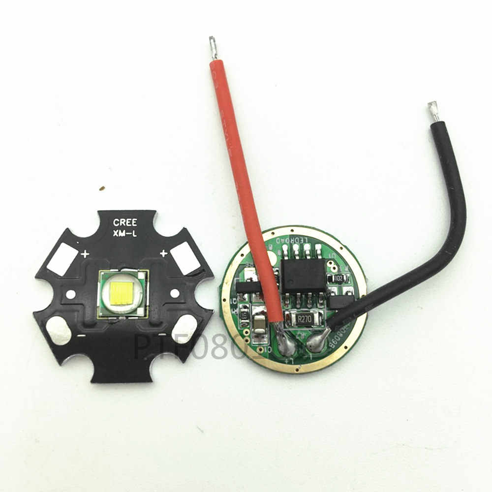 Brand New 10W 20MM/16MM Cool White Cree XM-L T6 XML T6 LED Light + DC 3.7V 2.5A T5 T6 LED Dimmer Driver For DIY Torch Flashlight