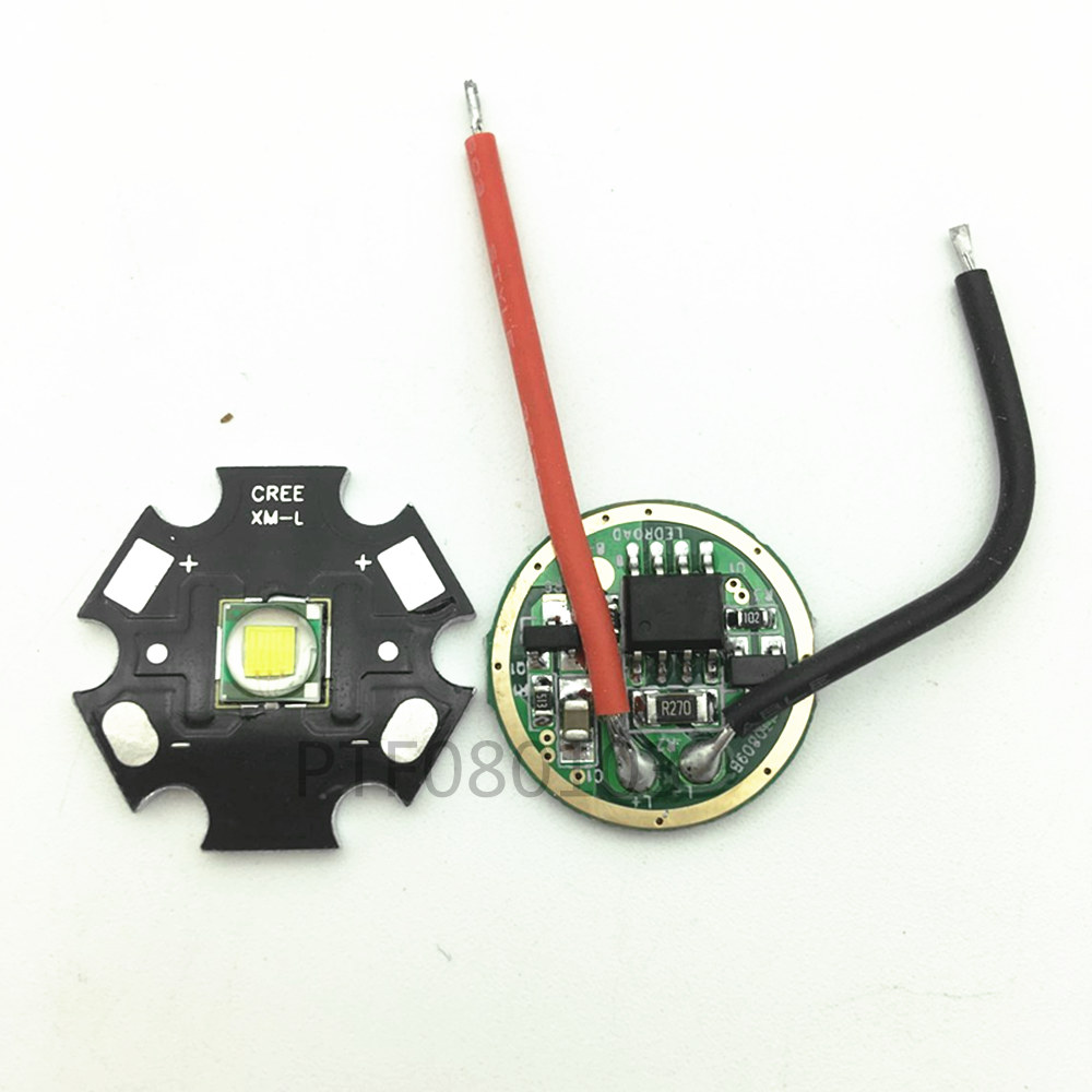Brand New 10W 20MM/16MM Cool White Cree XM-L T6 XML T6 LED Light + DC 3.7V 2.5A T5 T6 LED Dimmer Driver For DIY Torch Flashlight фара для велосипеда new 3 x t6 securitying cree xml led xml t6