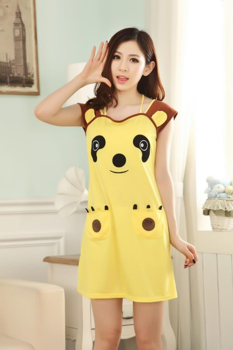 Woman summer cartoon dog Nightgowns & Sleepshirts girls mini ...