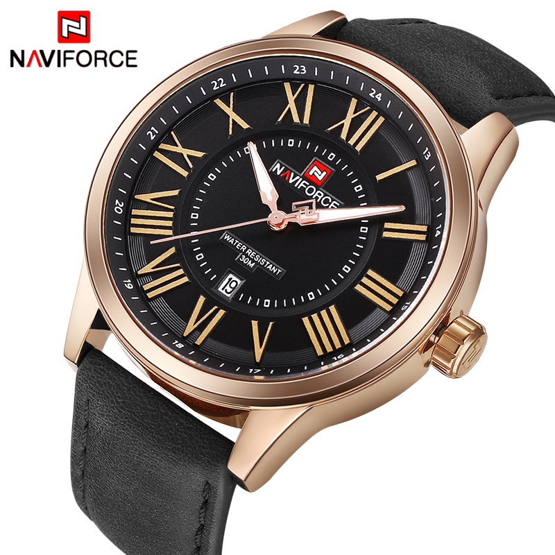 NAVIFORCE Brand Watches Men Fashion Analog Quartz Clock Man Leather Sport Watch Waterproof Gold Wristwatches Relogio Masculino цена 2017