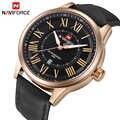 Relojes de marca NAVIFORCE reloj de cuarzo analógico de moda para hombre reloj deportivo de cuero para hombre reloj de pulsera de oro resistente al agua reloj Masculino