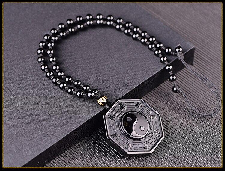 HTB1wNf7eFooBKNjSZPhq6A2CXXac Drop Shipping Black Obsidian Yin Yang Necklace Pendant Chinese BAGUA Men's Jewelry Women's Jewelry