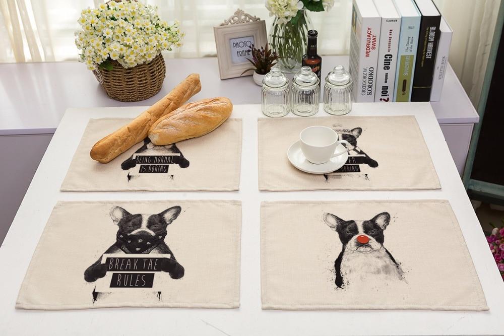 42X32CM Table Napkins cute dog Images Dinner Table Napkins Tea Coffee Towel Restaurant Plates Decoration