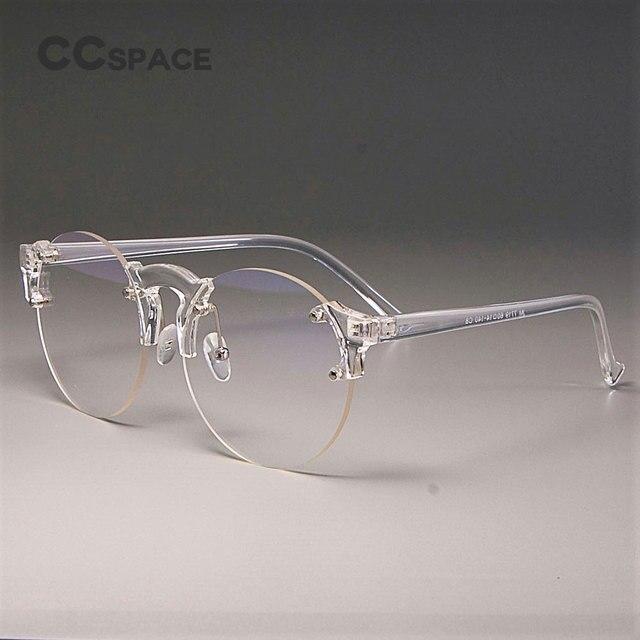 9c8f8c894 CCSPACE Lente Transparente Óculos Frames Homens Mulheres Rodada Cat Eye  Marca Designer Optical Óculos Da Moda