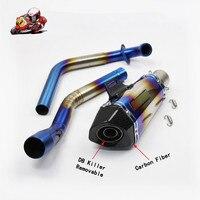 Полная система мотоцикл Выпускной контакт средняя труба Мотоцикл углеродного волокна Выхлопной с наклейкой дБ убийца для YAMAHA R15 YZF R15