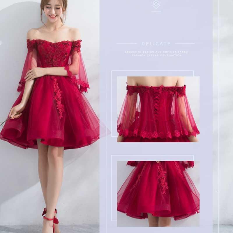 Платья подружек невесты, красная короткая юбка с открытыми плечами, платье с аппликацией, платье для выпускного вечера, бальное платье, свадебное платье для гостей TS901