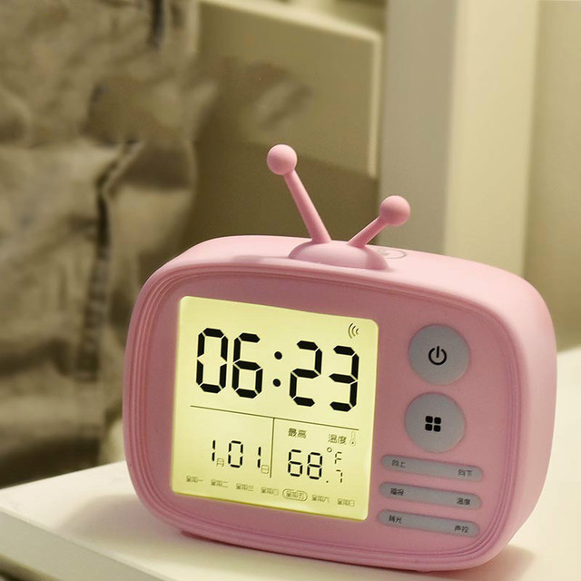 Student Children Creative Cartoon Bedside Led Light Digital Display Desktop Mute Electronic Alarm Clock 3
